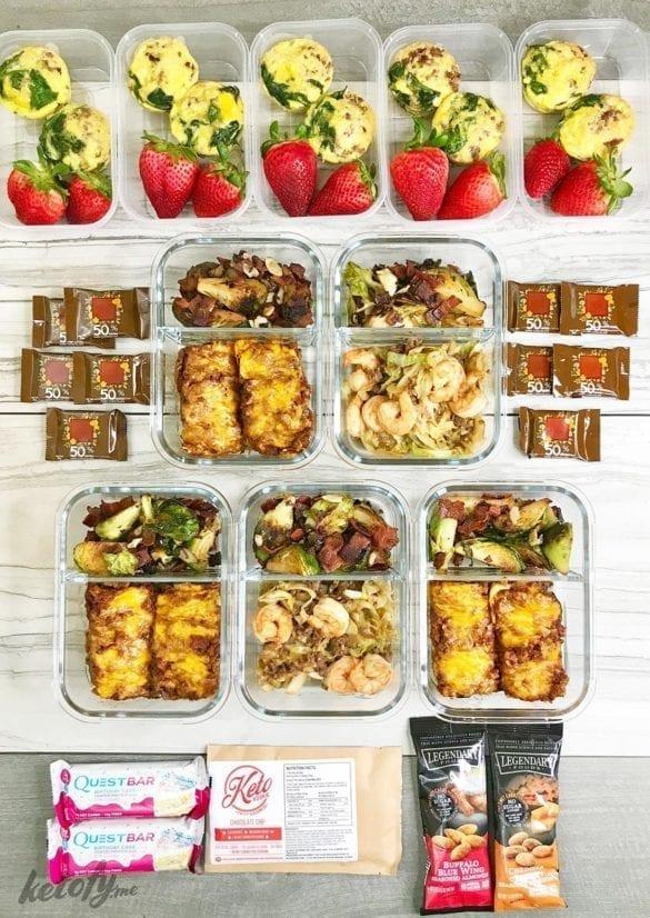 Keto Meal Prep - 1300 Calories - 25g Net Carbs - Egg Plant Lasagna - Brussel Sprouts - Ketofy.Me
