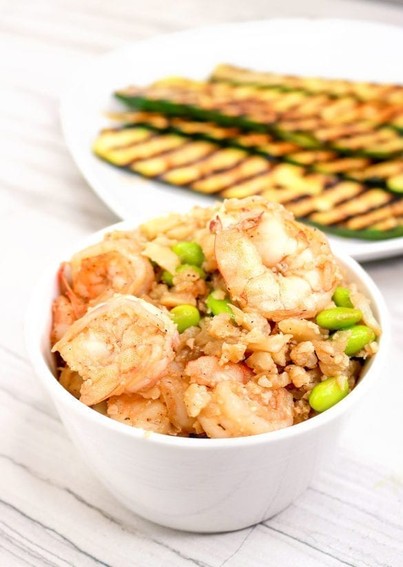 Ketofy Me Keto Shrimp Cauliflower Fried Rice with Edamame - One Pot Meals - Cauliflower Rice