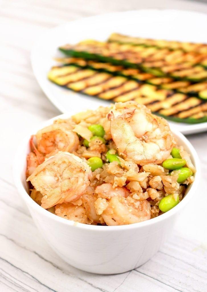 Ketofy Me Keto Shrimp Cauliflower Fried Rice with Edamame - One Pot Meals - Cauliflower Rice