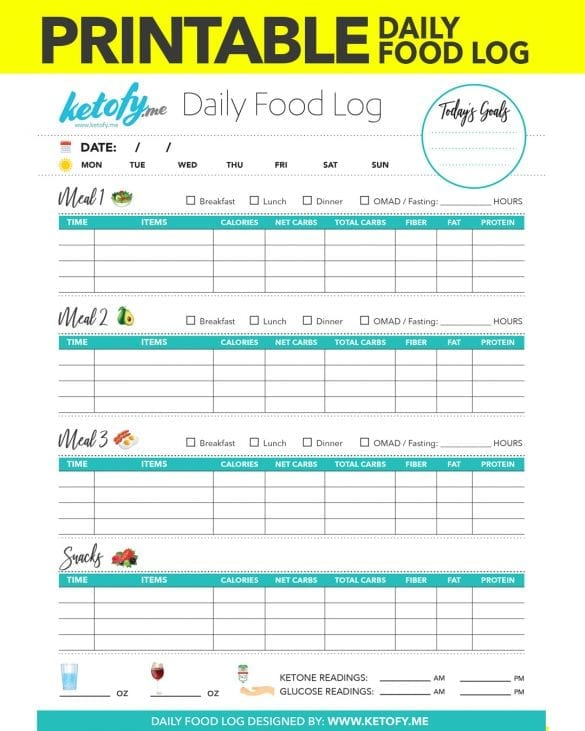 Ketofy.Me - Keto Food Log Food Journal Printable