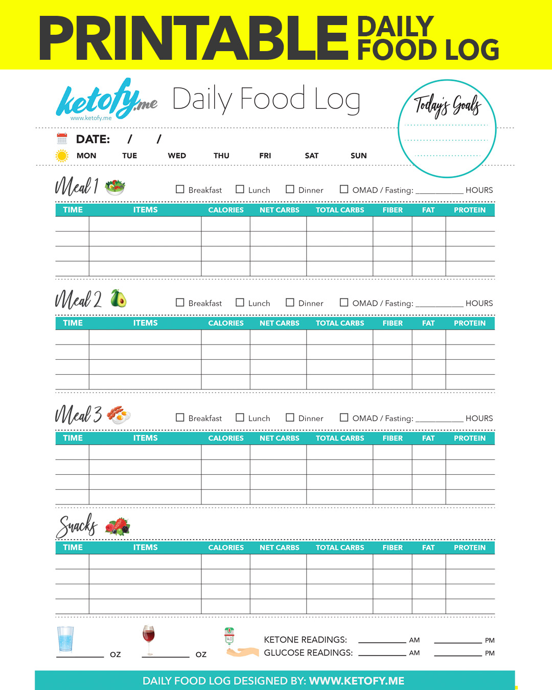 This is a photo of Comprehensive Printable Food Diary
