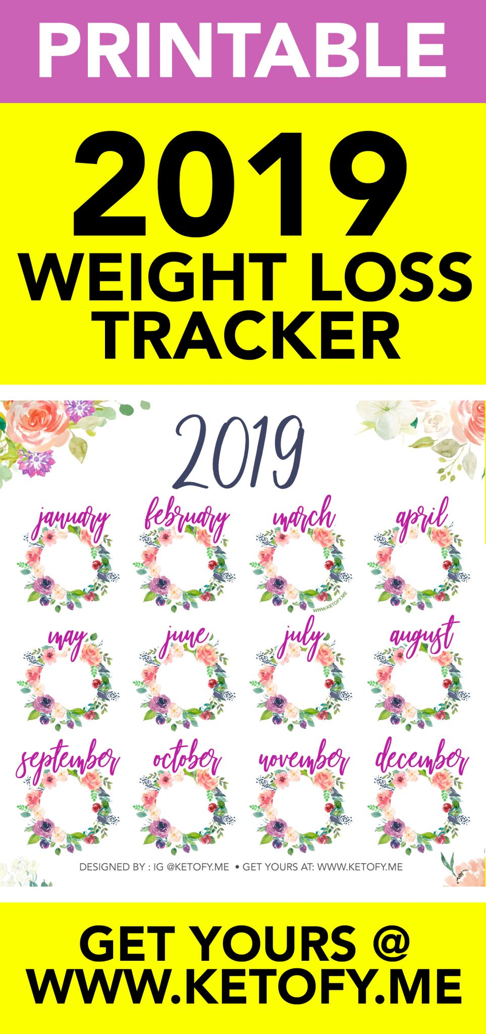 KETOFY.ME CALENDAR | Printable 2019 Calendar | 2019 Keto Calendar | 2019 Calendar | 2019 Weight Loss Calendar | 2019 Progress Calendar | 2019 Weight Loss Calendar